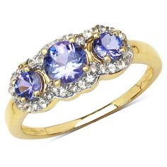 14K Yellow Gold Plated 1.01 Carat Genuine Tanzanite & White Topaz .925 Sterling Silver Ring