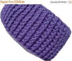 ON SALE Adult Ear Muffs Crochet Headband Lavender by CherylsKnits