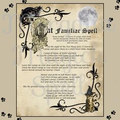 CAT FAMILIAR SPELL  Digital Download, Book of Shadows Page,Grimoire,  Wicca, Pagan, Witchcraft, White Magick, Magick Spell by MorganaMagickSpell on Etsy