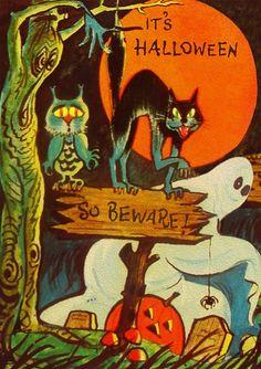 Vintage Halloween Cards, Retro Halloween, Halloween Cartoons, Halloween Images, Halloween Cat, Holidays Halloween, Happy Halloween, Halloween Decorations, Halloween Makeup