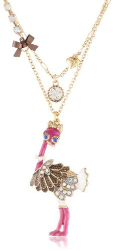 "Betsey Johnson ""A Day at the Zoo"" Ostrich 2 Row Necklace, 19"" Betsey Johnson, NECKLACES to buy just click on amazon here  http://www.amazon.com/dp/B00BPZA9CS/ref=cm_sw_r_pi_dp_hmQjsb05KDNYMK1W"