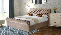 135cm Bed Frame Cantata Plum Velvet