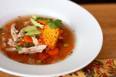 Crockpot Mexican Chicken Soup with Cheddar Cheese Chips