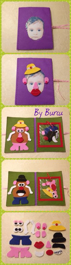 Felt Mr & Mrs Potato Head play mat / quiet book / busy book with personalized cover page and accessories. I made this for 1 year old Mila, she could also play with her own photo as well. I printed out her picture and stitched a piece of vinyl on it.