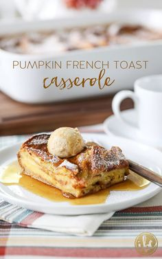 overnight Pumpkin French Toast Casserole is a delicious and easy fall breakfast recipe!This overnight Pumpkin French Toast Casserole is a delicious and easy fall breakfast recipe! Fall Breakfast, Breakfast Recipes, Breakfast Dishes, Overnight Breakfast, Christmas Breakfast, Breakfast Ideas, Pumpkin Custard, Pumpkin Pumpkin, Pumpkin French Toast
