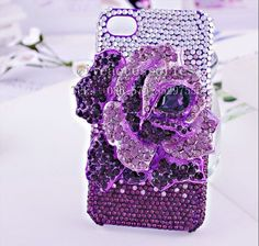 3D rose alloy rhinestone phone case for iphone