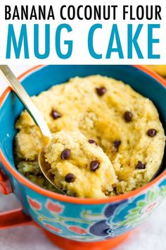 A simple single-serving dessert made with coconut flour this banana coconut flour mug cake is grain-free and the perfect treat to satisfy a sweet craving. Plus you will LOVE the mini chocolate chips! Banana Mug Cake, Chocolate Chip Mug Cake, Chocolate Chips, Banana Dessert, Healthy Chocolate, Chocolate Recipes, Coconut Flour Mug Cake, Recipes Using Coconut Flour, Flour Recipes