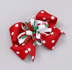 Take a look at this Picture Perfect Hair Bows Red Polka Dot Christmas Bow Clip on zulily today! Hair Ribbons, Diy Hair Bows, Ribbon Bows, Christmas Hair Bows, Diy Christmas, Xmas, Hair Bow Tutorial, Winter Nail Designs, Ribbon Crafts