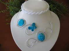Aluminium wire turquoise blue  open necklace  | LesBijouxLibellule - Jewelry on ArtFire