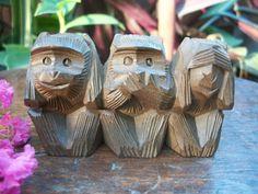 1940s  See no evil, Hear no evil, Speak no evil Japanese Three Wise Monkey Ittobori Wood Carving Figurine Okimono