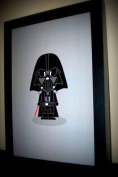 Cute Darth Vader - tam 20x30 - moldura preta