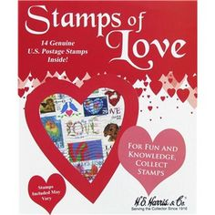 Stamps of Love includes 14 genuine U.S. postage stamps inside.