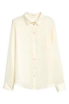 Bluză cu mâneci lungi - Alb-natur - | H&M RO