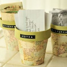 Great idea for Sunday School or  family missions project: Paint terracotta pots, Mod Podge on some old map pieces and label each pot with a different continent. Keep missionary prayer requests and updates in the appropriate pot. Great way to keep your missionaries close to your family's heart! :)