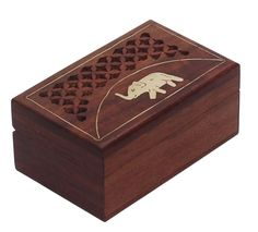 """Bulk Wholesale Hand-Crafted 3.8"""" Rosewood Rectanguar Brown Jewelry Box / Keepsake with Elephant Design in Brass Inlay Art & Filigree Work – Antique-Look Boxes from India"""