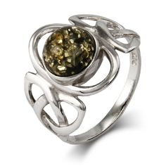Celtic Trinity Green Amber Sterling Silver Ring $42