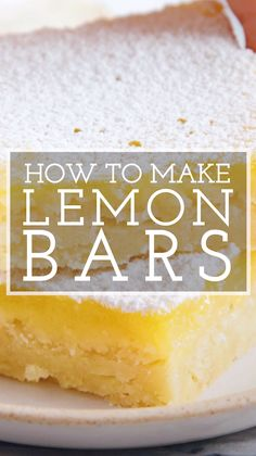 If you LOVE lemon, these Classic Lemon Bars are for you! Tart, velvety lemon curd is balanced by a crisp, buttery shortbread crust. Happiness is only 45 minutes away! Source by simplyrecipes Lemon Dessert Recipes, Tart Recipes, Easy Cake Recipes, Easy Desserts, Baking Recipes, Cookie Recipes, Delicious Desserts, Lemon Recipes Simple, Easy Lemon Bars