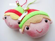Felt Christmas Elf Ornament Softies Sewing Pattern
