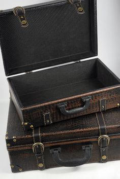 """$40 - Vintage Suitcases   Set of 2 -  the larger is 5.75"""" by 12.25"""" by 16.5"""", and the smaller is 5"""" by 10"""" by 14""""."""