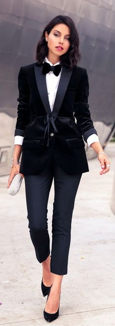 New Year's Eve - Black Velvet Shawl Collar Tuxedo Blazer / VivaLuxury