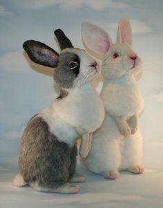 2012 TOBY Award OOAK Needle felted Alpaca Life Size Gray & White Bunny…