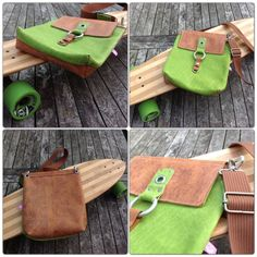 Funky Leather Bag Green and Brown