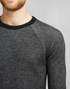 Nelson Crewneck - Black/Pale Grey Melange Wool Knitwear