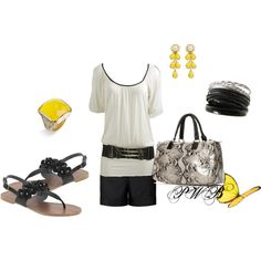Yellow and Black, created by pamela-barrett-williamson on Polyvore