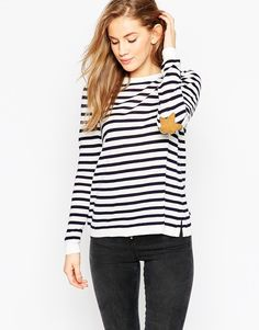 Image 1 ofASOS Jumper in Stripe with Star Elbow Patches