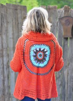 Crochet Mandala bohemian style jacket.