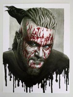 Ragnar Lothbrok Vikings Watercolor Portrait by idlemindsworkshop Ragnar Lothbrok Vikings, Vikings Tv, Warrior Tattoos, Viking Tattoos, Assassins Creed Art, Watercolor Portraits, Portrait Art, Character Art, Art Prints