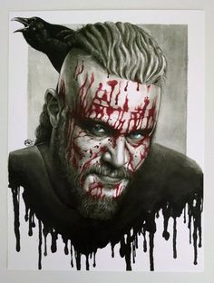Ragnar Lothbrok Vikings Watercolor Portrait by idlemindsworkshop
