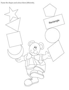 Download english activity worksheet Name the shapes and colour