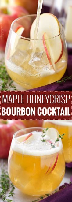 Maple Honeycrisp Bourbon Cocktails | These bourbon cocktails are incredibly refreshing and a great mix of sweet with a bit of tart. Take advantage of those Fall apples! | The 5 o'clock Chef | #bourbon #cocktailrecipe #cocktails #applecider #honeycrisp #maplesyrup #falldrink