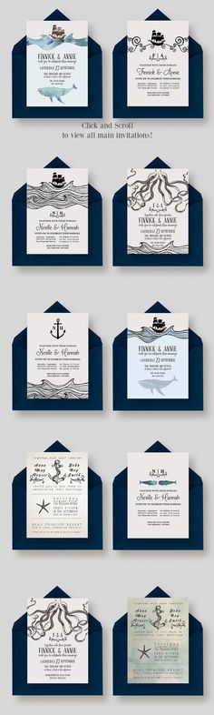 Looking for nautical inspired wedding invites? This GIANT Nautical Wedding Collection includes: Beach Wedding Invitation Pack AND Octopus Wedding Invitation Suite! Check them out!: