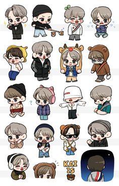 Exo Stickers, Cute Stickers, Exo Kai, Exo Xiumin, Exo Cartoon, Chibi, Exo Anime, Fanart Bts, Exo Fan Art
