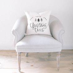 Etsy Throw Pillow - Christmas Trees, Christmas decor, calligraphy, home decor, Winter pillow, cushion cov