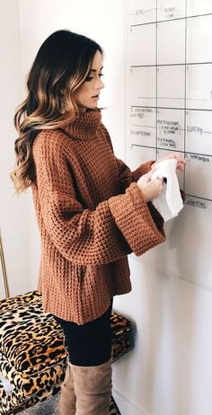 bd113ca4db7  fall  outfits women s brown turtle-neckline sweater   fallstyle fallfashion falloutfit
