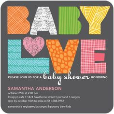 fabricated love baby shower invitation