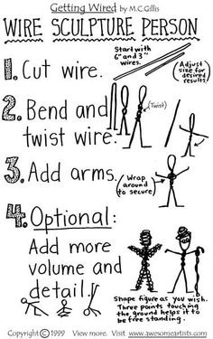 Simiple steps for wire sculpture person. cute little wire person. maybe could add larger bead to center, for the body. by deeGetting Wired-Learn basic wire sculpture techniques Wire Sculpture Person for giacomettiolder junior art clubbers, making wire for Sculpture Techniques, Sculpture Lessons, Sculpture Projects, Art Projects, Sculpture Ideas, Project Ideas, Middle School Art, Art School, Documents D'art