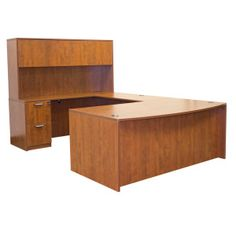 OFD Ultra Laminate Series U-Shape with Hutch - Cherry, Mahogany or Espresso; More pieces available #officefurniture #desk
