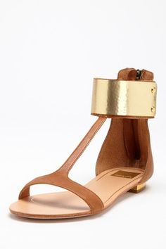 Dolce Vita Bagley Flat Sandal with gold ankle cuff