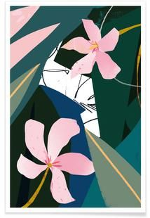 Girl Wallpaper- 'Oleander' - Inspired by my visit to Urban Jungle Norfolk! Art Inspo, Kunst Inspo, Art And Illustration, Illustrations Posters, Textures Patterns, Print Patterns, Motif Floral, Art Mural, Art Design