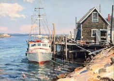 Martha's Vineyard: Menemsha Creek Nautical Painting, Boat Painting, Nautical Art, Watercolor Landscape, Landscape Paintings, Watercolor Art, Nantucket Style Homes, Boat Art, Classic Paintings