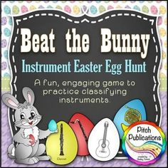 This game is ADORABLE for Instrument families!! There is a self-timed PowerPoint that shows a cute bunny collecting eggs. Students have to find and sort instrument eggs into the correct family before the timer is up. HOW FUN!!!! #elmused #musiceducation #instruments #orchestrainstruments