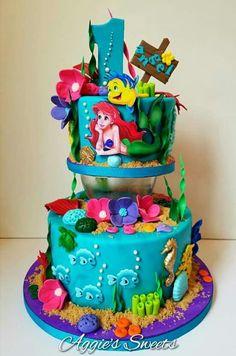 Little Mermaid Birthday Cake, Mermaid Birthday Decorations, Little Mermaid Cakes, Little Mermaid Parties, Disney Themed Cakes, Themed Wedding Cakes, Ocean Cakes, Beach Cakes, Sirenita Cake
