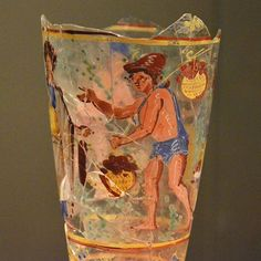 Painted beaker glass, h Begram, century CE National Museum of Afghanistan Ancient Rome, Ancient Art, Ancient History, Classical Period, Roman History, Roman Art, 1st Century, Ancient Civilizations, Glass Art