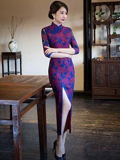 Colorblock Lace Maxi Qipao / Cheongsam Dress with Thigh Split