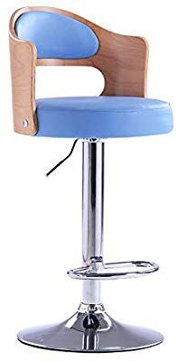 Swivel Stool Round Rolling Stools Adjustable Chair Height PU Leather Lift Backrest 360°Anti-Slip-Blue-A Chair Height, Bar Stools, Pu Leather, Rolls, Blue, Furniture, Home Decor, Homemade Home Decor, Counter Height Chairs