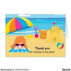 Sold #Beach party card #summer #kids #birthday Available in different products. Check more at www.zazzle.com/celebrationideas